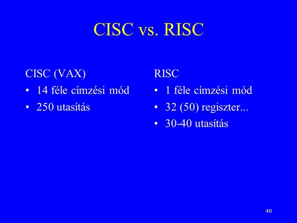 40 CISC vs. RISC CISC (VAX) 14 féle címzési mód 250 utasítás RISC 1 féle címzési mód 32 (50) regiszter... 30-40 utasítás