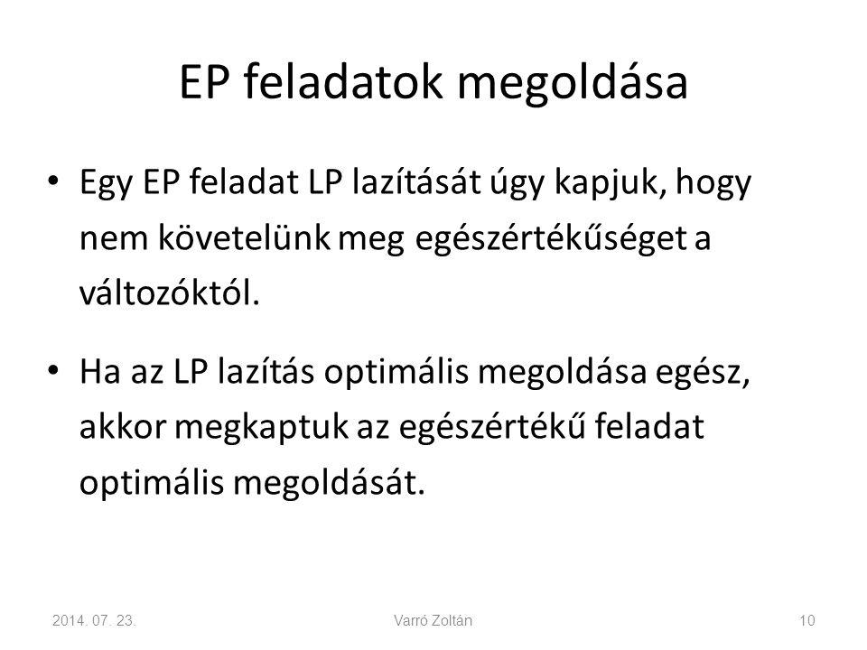 EP feladatok megoldása Egy EP feladat LP lazítását úgy kapjuk, hogy nem követelünk meg egészértékűséget a változóktól. Ha az LP lazítás optimális mego