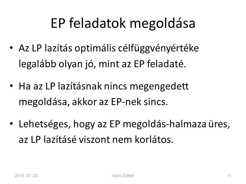 EP feladatok megoldása Az LP lazítás optimális célfüggvényértéke legalább olyan jó, mint az EP feladaté. Ha az LP lazításnak nincs megengedett megoldá