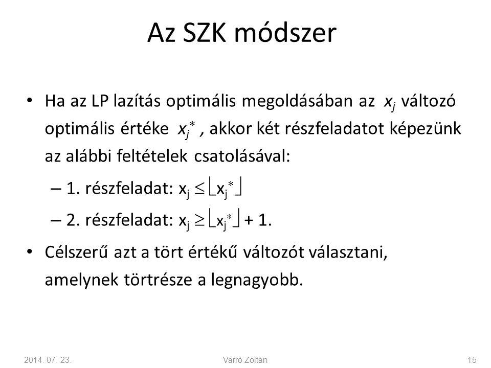 Az SZK módszer Ha az LP lazítás optimális megoldásában az x j változó optimális értéke x j , akkor két részfeladatot képezünk az alábbi feltételek cs