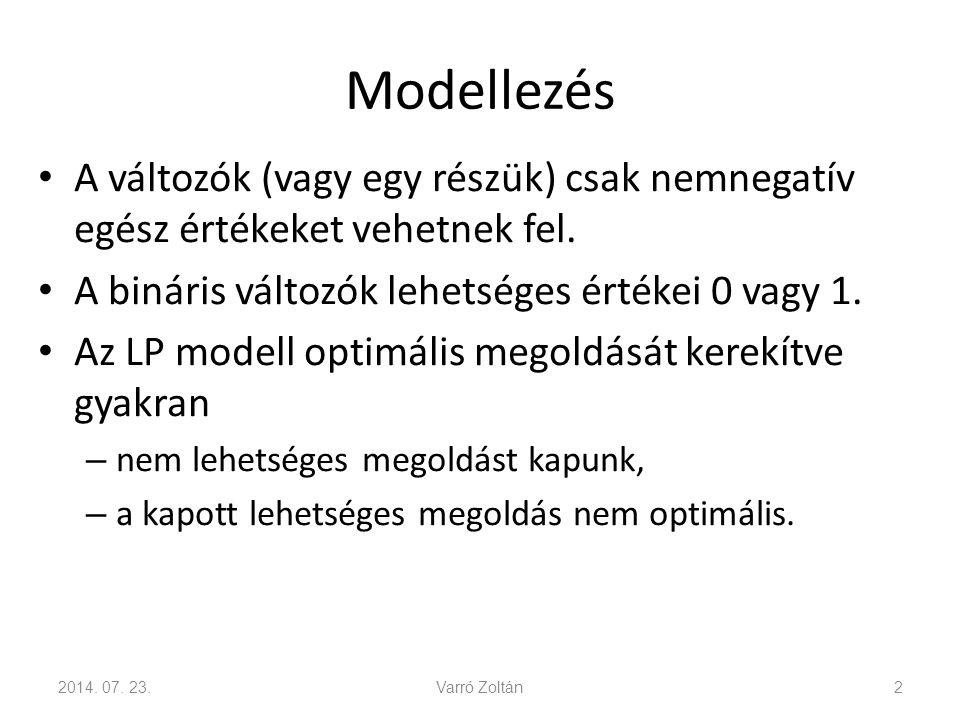 Modellezés A változók (vagy egy részük) csak nemnegatív egész értékeket vehetnek fel. A bináris változók lehetséges értékei 0 vagy 1. Az LP modell opt