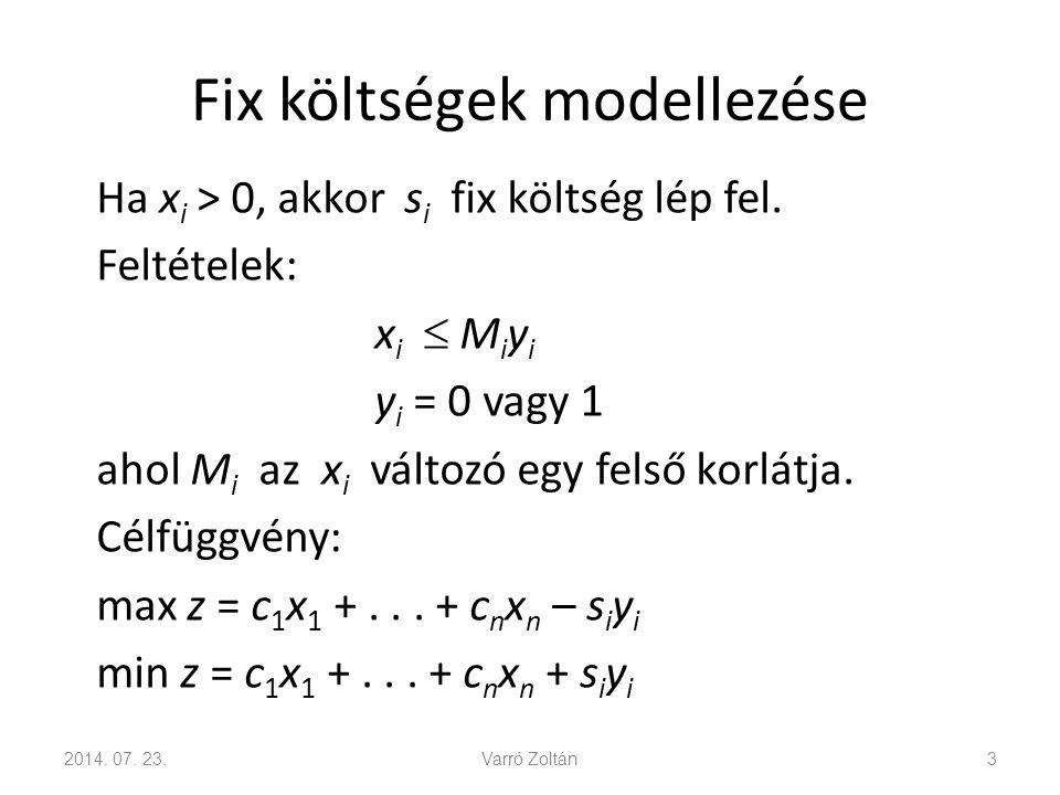 Fix költségek modellezése Ha x i > 0, akkor s i fix költség lép fel. Feltételek: x i  M i y i y i = 0 vagy 1 ahol M i az x i változó egy felső korlát