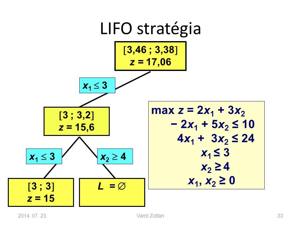 LIFO stratégia 2014. 07. 23.Varró Zoltán33 x 2  4x 1  3  3,46 ; 3,38  z = 17,06  3 ; 3,2  z = 15,6  3 ; 3  z = 15 L =  x 1  3 max z = 2x 1 +