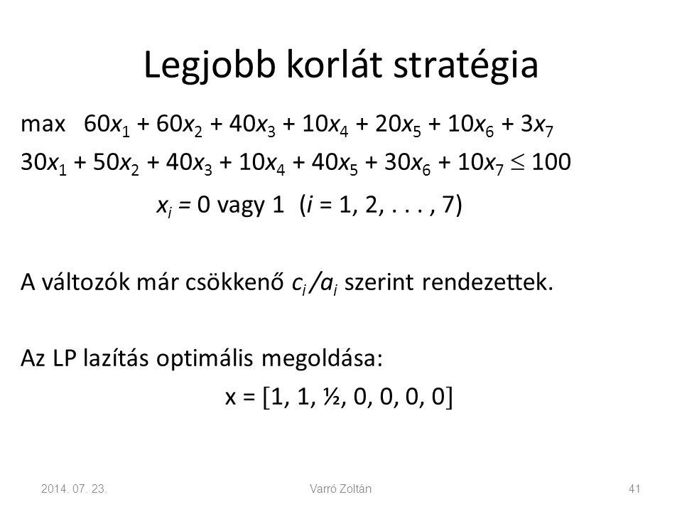 Legjobb korlát stratégia max 60x 1 + 60x 2 + 40x 3 + 10x 4 + 20x 5 + 10x 6 + 3x 7 30x 1 + 50x 2 + 40x 3 + 10x 4 + 40x 5 + 30x 6 + 10x 7  100 x i = 0
