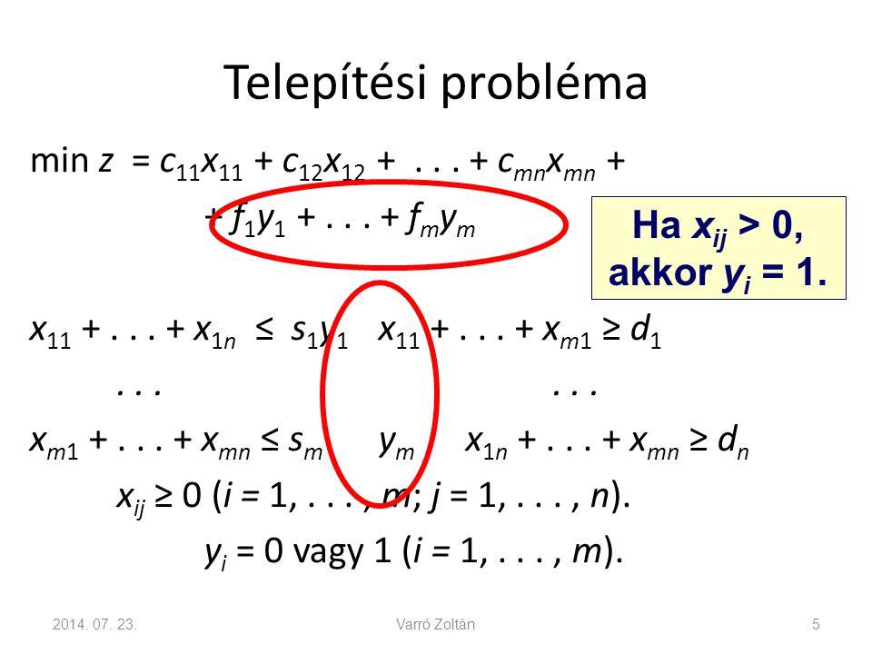 Telepítési probléma min z = c 11 x 11 + c 12 x 12 +... + c mn x mn + + f 1 y 1 +... + f m y m x 11 +... + x 1n ≤ s 1 y 1 x 11 +... + x m1 ≥ d 1... x m