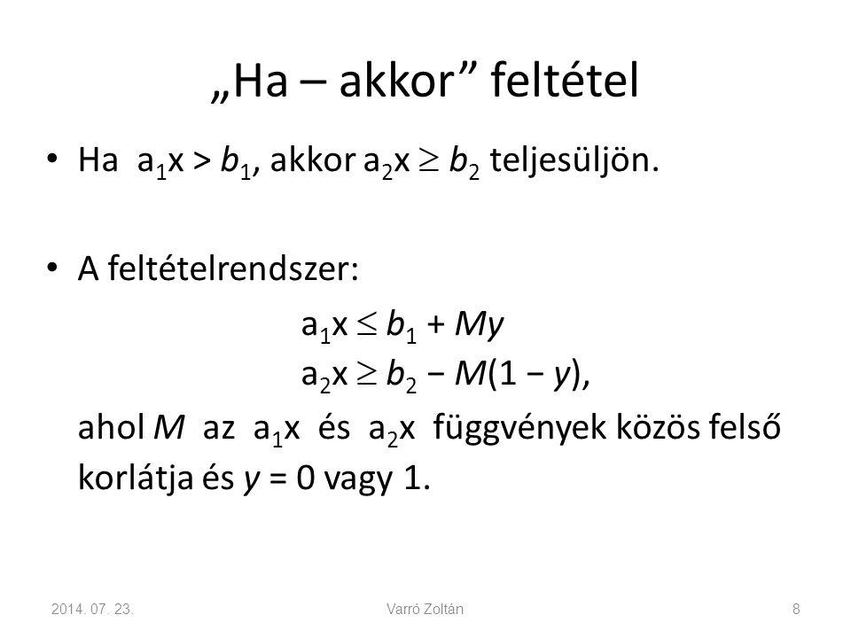 """""""Ha – akkor"""" feltétel Ha a 1 x > b 1, akkor a 2 x  b 2 teljesüljön. A feltételrendszer: a 1 x  b 1 + My a 2 x  b 2 − M(1 − y), ahol M az a 1 x és a"""