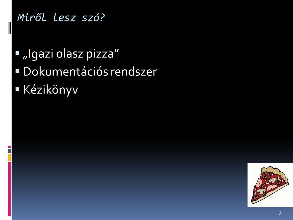 """Miről lesz szó?  """"Igazi olasz pizza""""  Dokumentációs rendszer  Kézikönyv 2"""