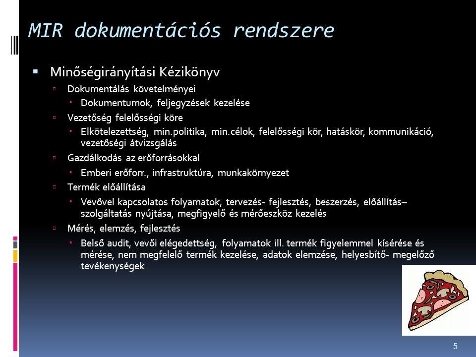 MIR dokumentációs rendszere  Minőségirányítási Kézikönyv  Dokumentálás követelményei  Dokumentumok, feljegyzések kezelése  Vezetőség felelősségi k