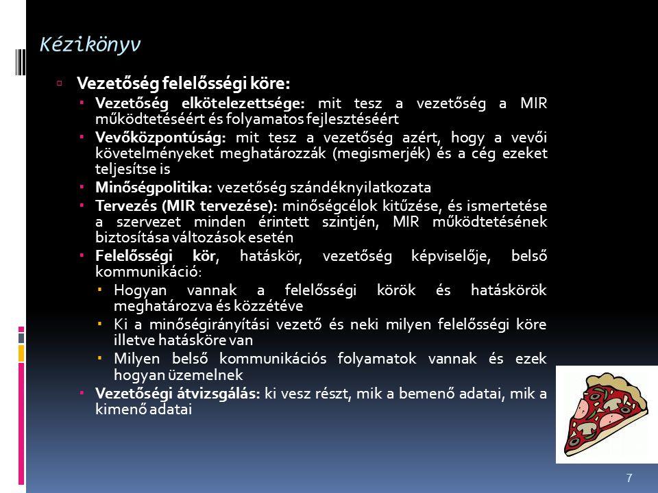Kézikönyv  Vezetőség felelősségi köre:  Vezetőség elkötelezettsége: mit tesz a vezetőség a MIR működtetéséért és folyamatos fejlesztéséért  Vevőköz