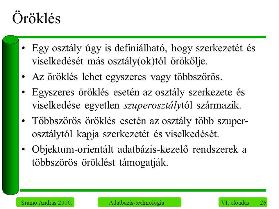 26 Sramó András 2000. Adatbázis-technológia VI.