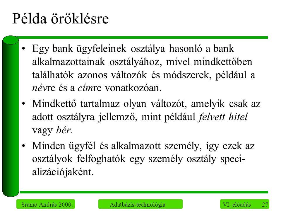 27 Sramó András 2000. Adatbázis-technológia VI. előadás Példa öröklésre Egy bank ügyfeleinek osztálya hasonló a bank alkalmazottainak osztályához, miv