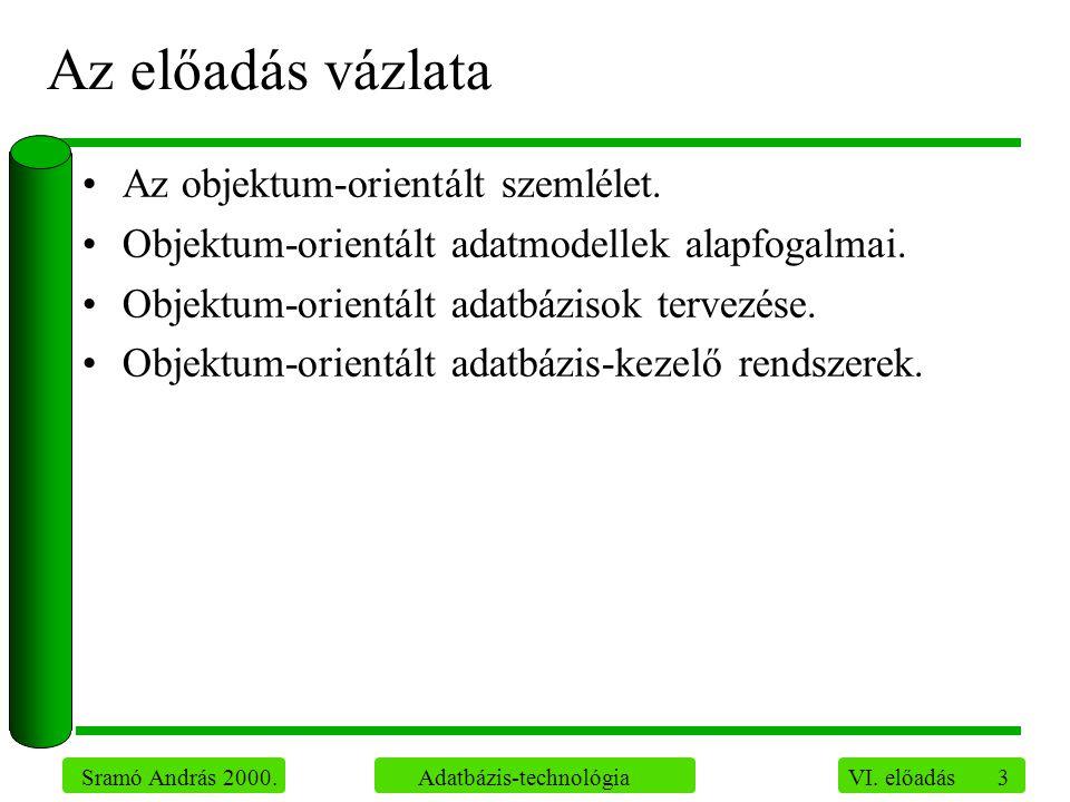 3 Sramó András 2000. Adatbázis-technológia VI. előadás Az előadás vázlata Az objektum-orientált szemlélet. Objektum-orientált adatmodellek alapfogalma