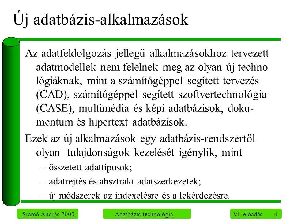 4 Sramó András 2000. Adatbázis-technológia VI. előadás Új adatbázis-alkalmazások Az adatfeldolgozás jellegű alkalmazásokhoz tervezett adatmodellek nem