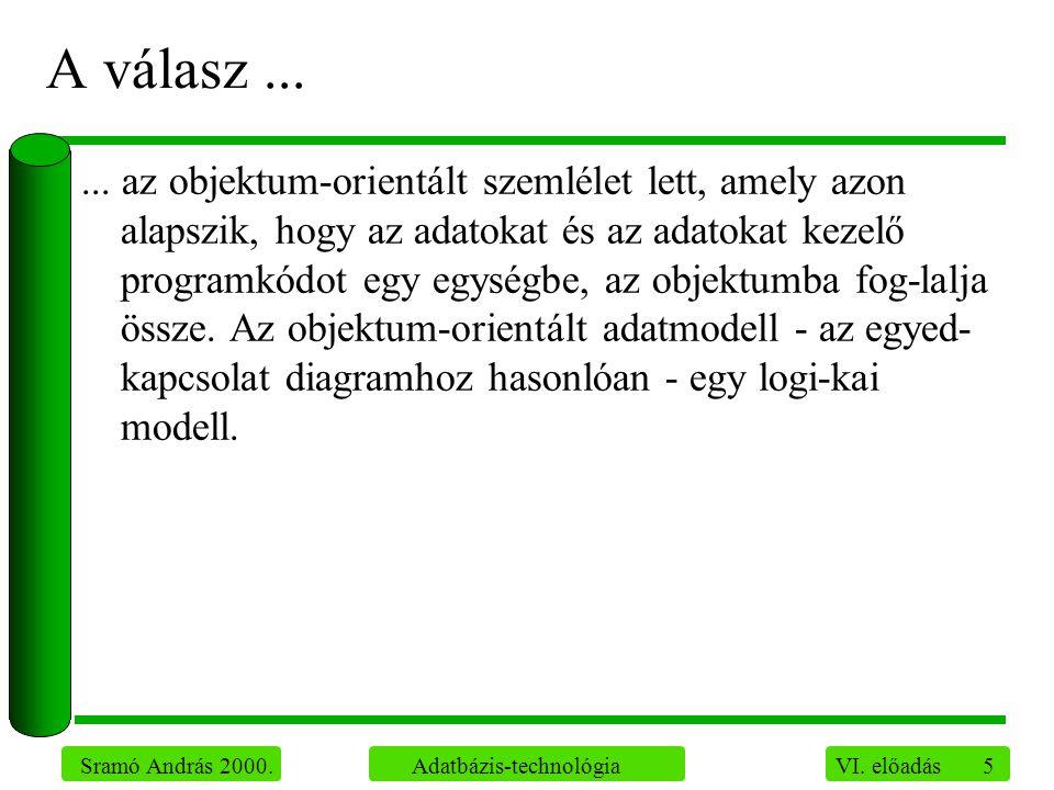 5 Sramó András 2000. Adatbázis-technológia VI. előadás A válasz......