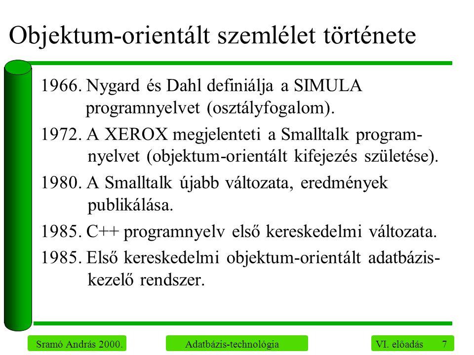 7 Sramó András 2000. Adatbázis-technológia VI. előadás Objektum-orientált szemlélet története 1966. Nygard és Dahl definiálja a SIMULA programnyelvet