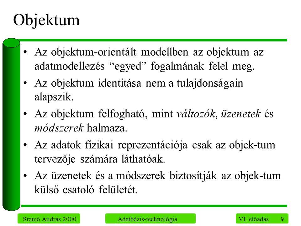 """9 Sramó András 2000. Adatbázis-technológia VI. előadás Objektum Az objektum-orientált modellben az objektum az adatmodellezés """"egyed"""" fogalmának felel"""
