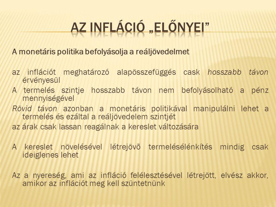 A monetáris politika befolyásolja a reáljövedelmet az inflációt meghatározó alapösszefüggés cask hosszabb távon érvényesül A termelés szintje hosszabb