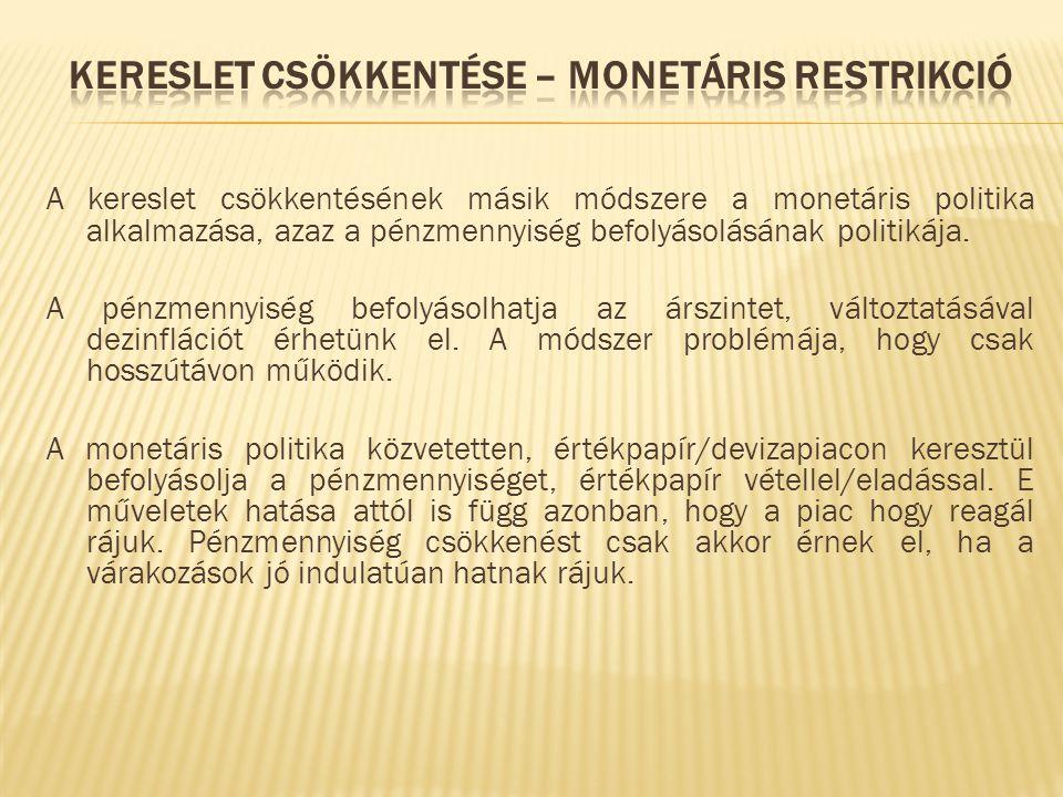 A kereslet csökkentésének másik módszere a monetáris politika alkalmazása, azaz a pénzmennyiség befolyásolásának politikája. A pénzmennyiség befolyáso