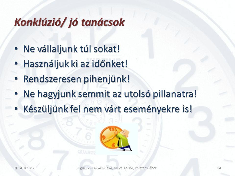 Konklúzió/ jó tanácsok Ne vállaljunk túl sokat! Ne vállaljunk túl sokat! Használjuk ki az időnket! Használjuk ki az időnket! Rendszeresen pihenjünk! R