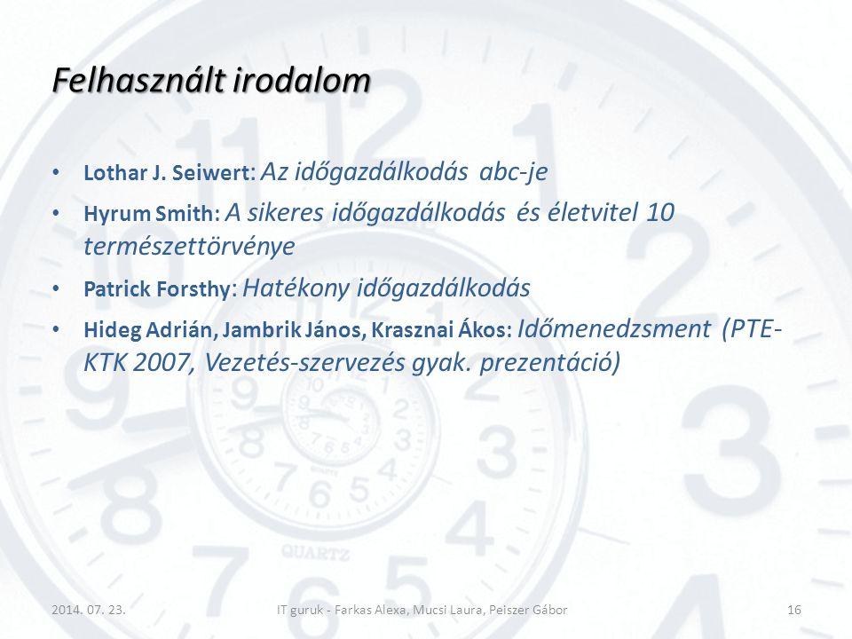 Felhasznált irodalom Lothar J. Seiwert : Az időgazdálkodás abc-je Hyrum Smith: A sikeres időgazdálkodás és életvitel 10 természettörvénye Patrick Fors