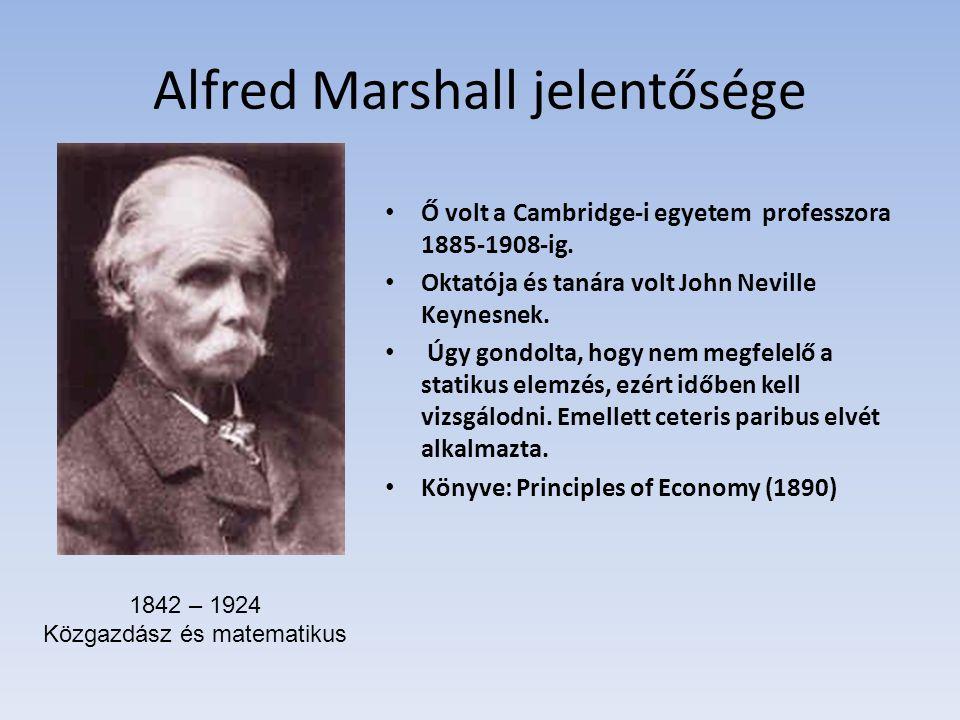 Alfred Marshall jelentősége Ő volt a Cambridge-i egyetem professzora 1885-1908-ig. Oktatója és tanára volt John Neville Keynesnek. Úgy gondolta, hogy