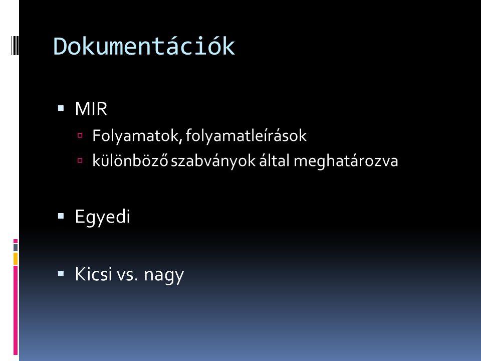 Dokumentációk  MIR  Folyamatok, folyamatleírások  különböző szabványok által meghatározva  Egyedi  Kicsi vs. nagy