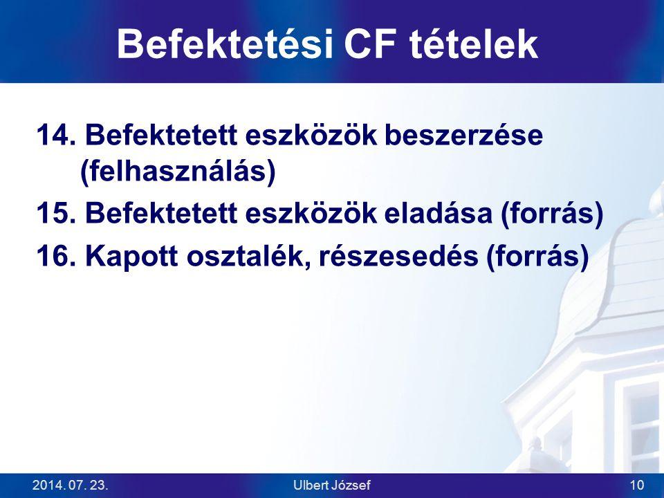 2014. 07. 23.Ulbert József10 Befektetési CF tételek 14. Befektetett eszközök beszerzése (felhasználás) 15. Befektetett eszközök eladása (forrás) 16. K