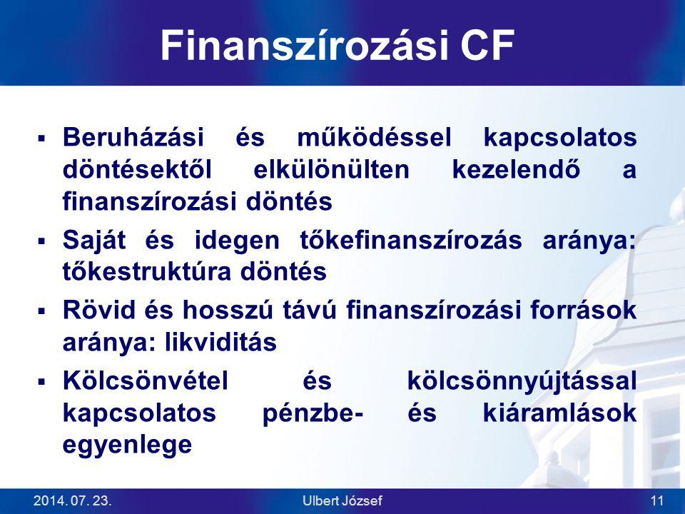 2014. 07. 23.Ulbert József11 Finanszírozási CF  Beruházási és működéssel kapcsolatos döntésektől elkülönülten kezelendő a finanszírozási döntés  Saj