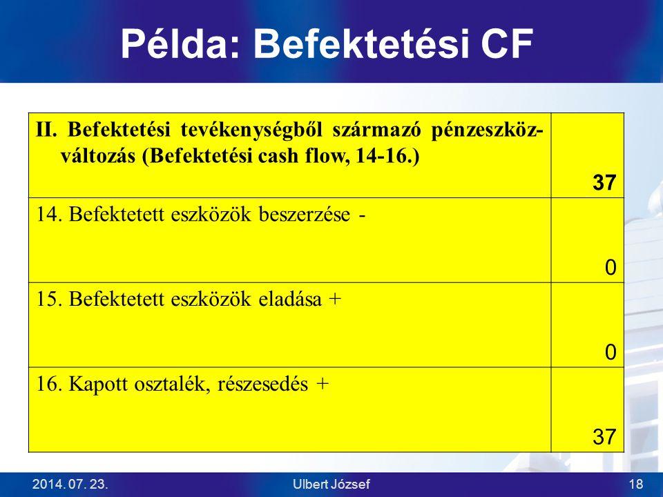 2014. 07. 23.Ulbert József18 Példa: Befektetési CF II. Befektetési tevékenységből származó pénzeszköz- változás (Befektetési cash flow, 14-16.) 37 14.