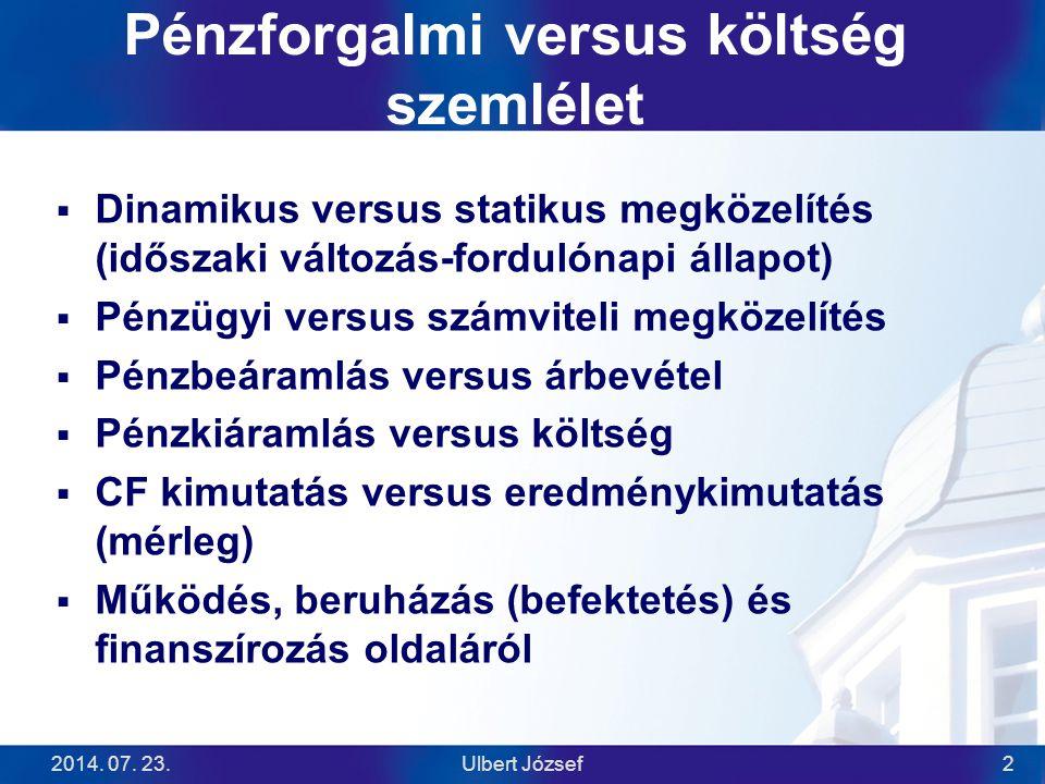 2014. 07. 23.Ulbert József2 Pénzforgalmi versus költség szemlélet  Dinamikus versus statikus megközelítés (időszaki változás-fordulónapi állapot)  P