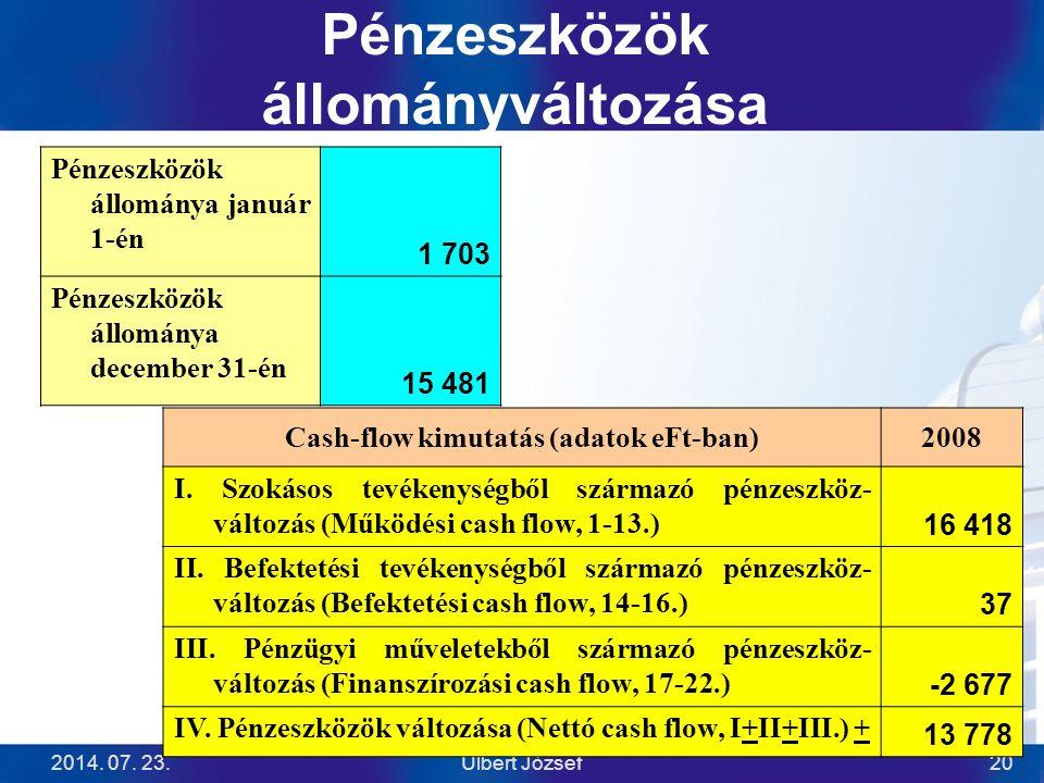 2014. 07. 23.Ulbert József20 Pénzeszközök állományváltozása Cash-flow kimutatás (adatok eFt-ban)2008 I. Szokásos tevékenységből származó pénzeszköz- v