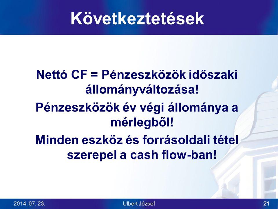 2014. 07. 23.Ulbert József21 Következtetések Nettó CF = Pénzeszközök időszaki állományváltozása! Pénzeszközök év végi állománya a mérlegből! Minden es