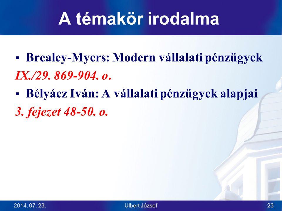 A témakör irodalma  Brealey-Myers: Modern vállalati pénzügyek IX./29. 869-904. o.  Bélyácz Iván: A vállalati pénzügyek alapjai 3. fejezet 48-50. o.
