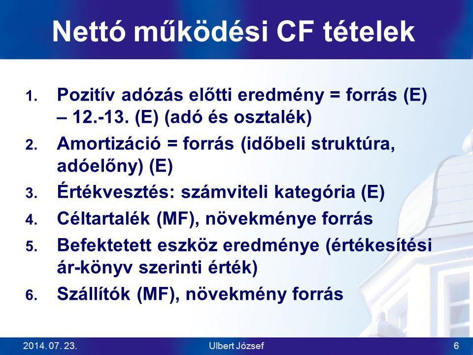 2014. 07. 23.Ulbert József6 Nettó működési CF tételek  Pozitív adózás előtti eredmény = forrás (E) – 12.-13. (E) (adó és osztalék)  Amortizáció =