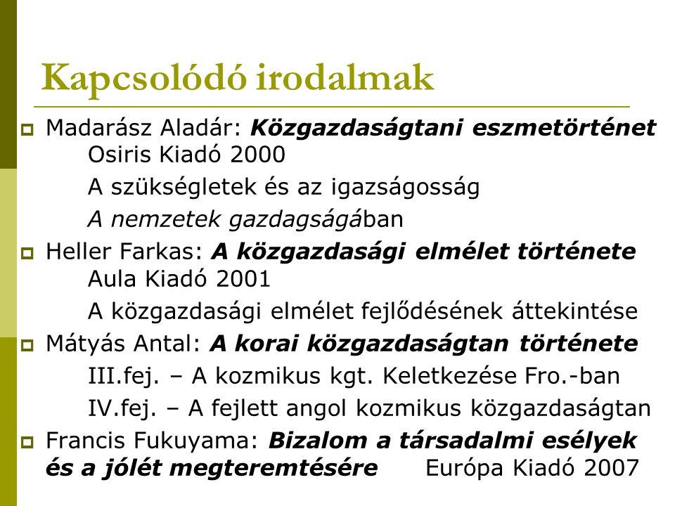 Kapcsolódó irodalmak  Madarász Aladár: Közgazdaságtani eszmetörténet Osiris Kiadó 2000 A szükségletek és az igazságosság A nemzetek gazdagságában  H