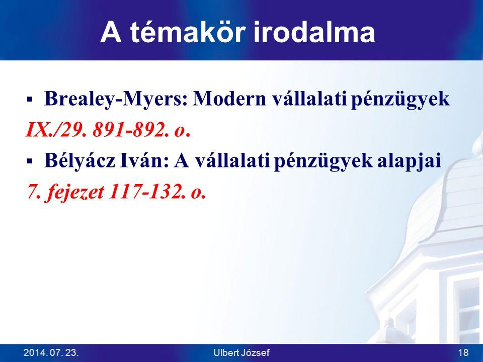 A témakör irodalma  Brealey-Myers: Modern vállalati pénzügyek IX./29.