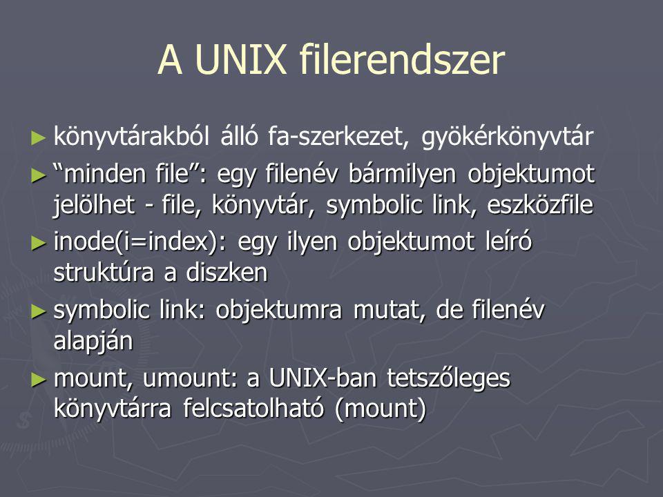 """A UNIX filerendszer ► ► könyvtárakból álló fa-szerkezet, gyökérkönyvtár ► """"minden file"""": egy filenév bármilyen objektumot jelölhet - file, könyvtár, s"""