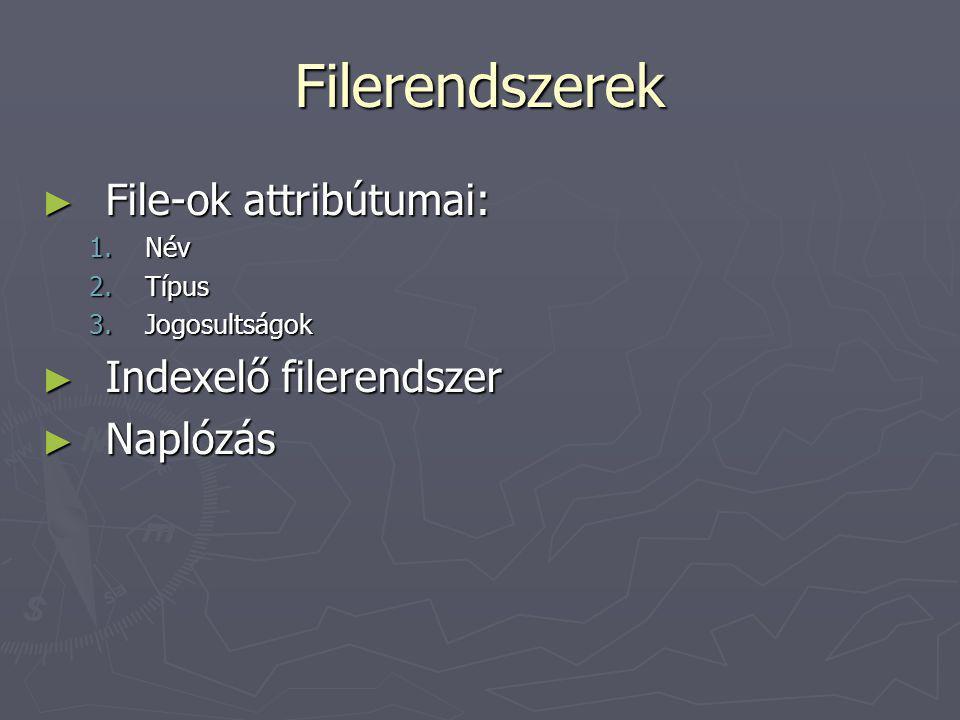 A UNIX jogosultságkezelése ► inode-ban tárolt adatok: 1.file típusa (file, könyvtár, symbolic link, eszközfile) 2.hozzáférési jogok: tulajdonos, tulajdonos csoport, permission bit -ek 3.a hozzáférési jog az inode-hoz, nem a linkhez tartozik