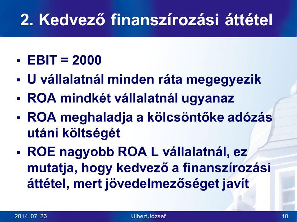 2014. 07. 23.Ulbert József10 2. Kedvező finanszírozási áttétel  EBIT = 2000  U vállalatnál minden ráta megegyezik  ROA mindkét vállalatnál ugyanaz