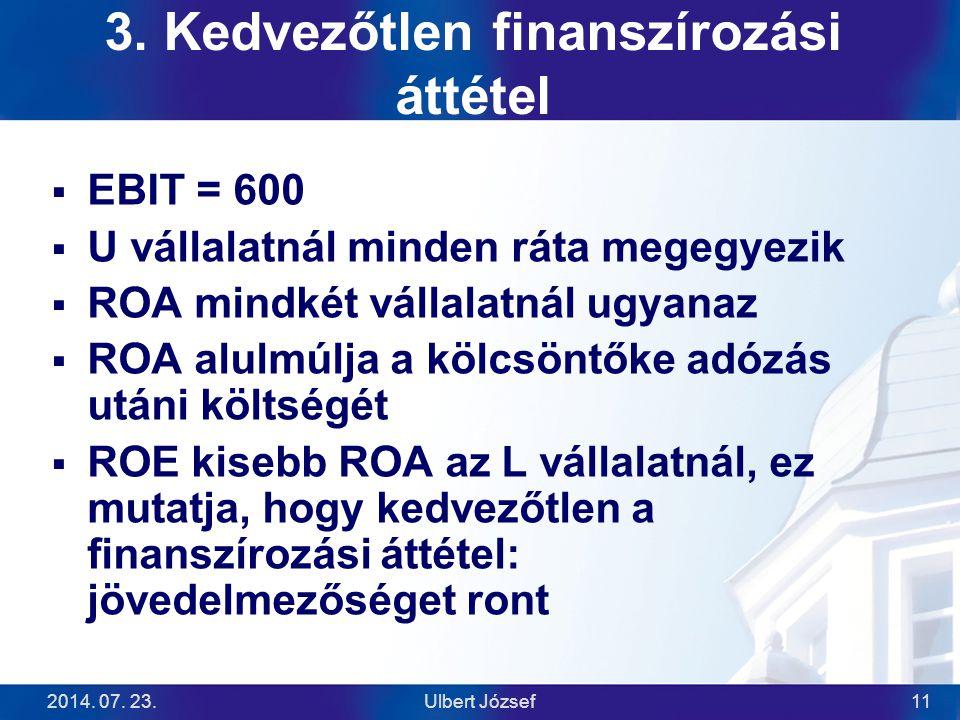 2014. 07. 23.Ulbert József11 3. Kedvezőtlen finanszírozási áttétel  EBIT = 600  U vállalatnál minden ráta megegyezik  ROA mindkét vállalatnál ugyan