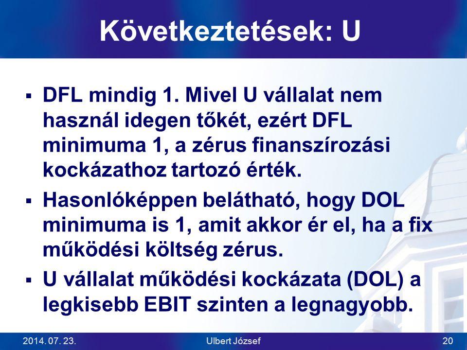 2014. 07. 23.Ulbert József20 Következtetések: U  DFL mindig 1. Mivel U vállalat nem használ idegen tőkét, ezért DFL minimuma 1, a zérus finanszírozás