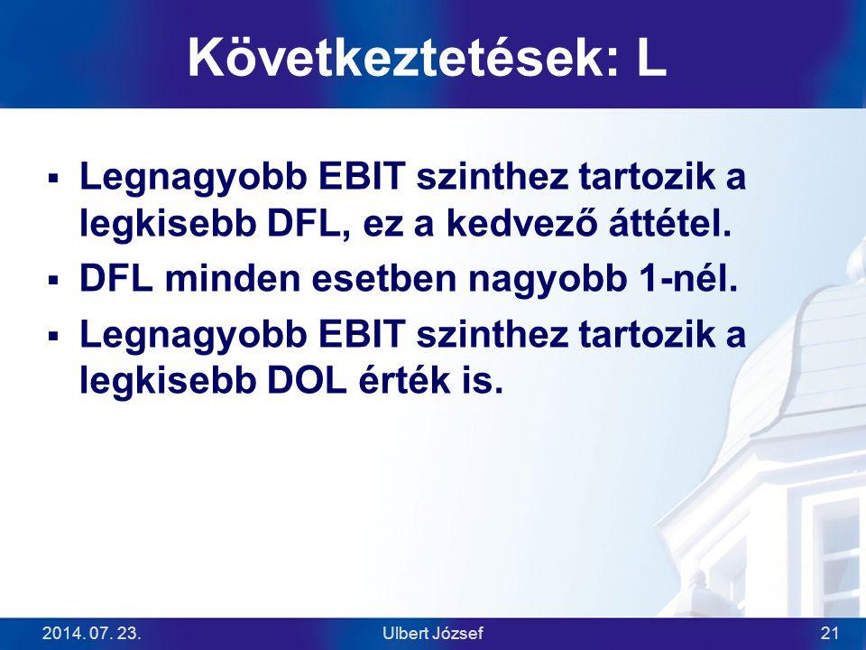 2014. 07. 23.Ulbert József21 Következtetések: L  Legnagyobb EBIT szinthez tartozik a legkisebb DFL, ez a kedvező áttétel.  DFL minden esetben nagyob