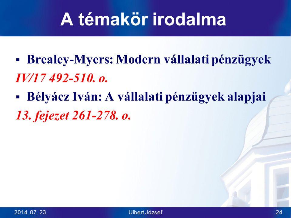 A témakör irodalma  Brealey-Myers: Modern vállalati pénzügyek IV/17 492-510. o.  Bélyácz Iván: A vállalati pénzügyek alapjai 13. fejezet 261-278. o.