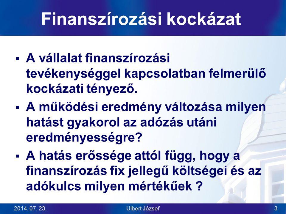 2014. 07. 23.Ulbert József3 Finanszírozási kockázat  A vállalat finanszírozási tevékenységgel kapcsolatban felmerülő kockázati tényező.  A működési