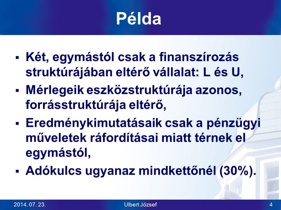2014. 07. 23.Ulbert József4 Példa  Két, egymástól csak a finanszírozás struktúrájában eltérő vállalat: L és U,  Mérlegeik eszközstruktúrája azonos,