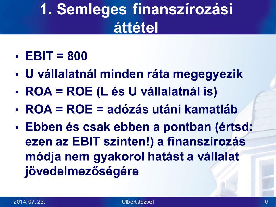 2014. 07. 23.Ulbert József9 1. Semleges finanszírozási áttétel  EBIT = 800  U vállalatnál minden ráta megegyezik  ROA = ROE (L és U vállalatnál is)