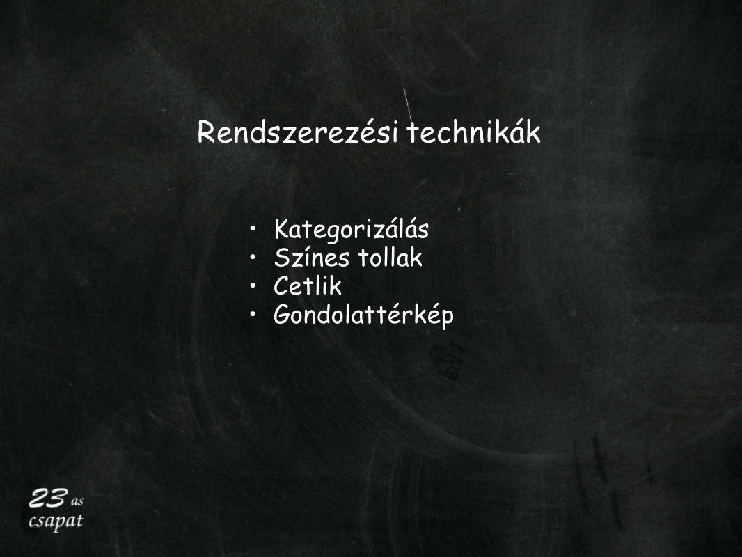 Rendszerezési technikák Kategorizálás Színes tollak Cetlik Gondolattérkép