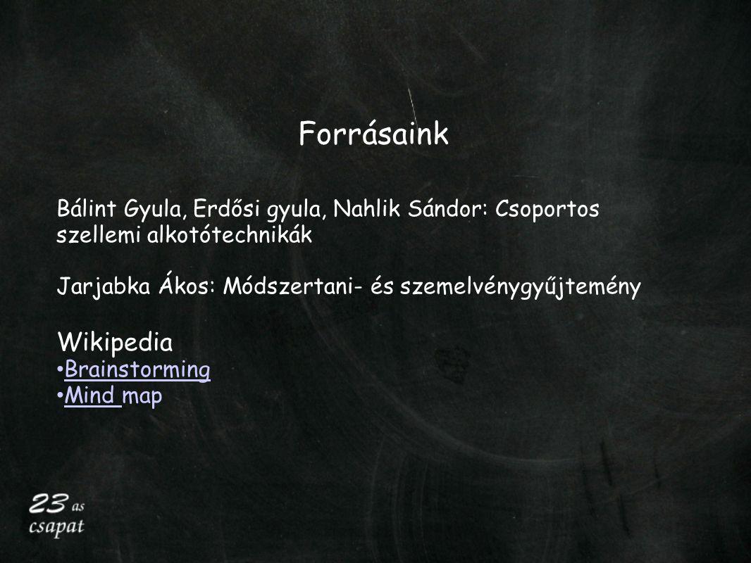 Forrásaink Bálint Gyula, Erdősi gyula, Nahlik Sándor: Csoportos szellemi alkotótechnikák Jarjabka Ákos: Módszertani- és szemelvénygyűjtemény Wikipedia