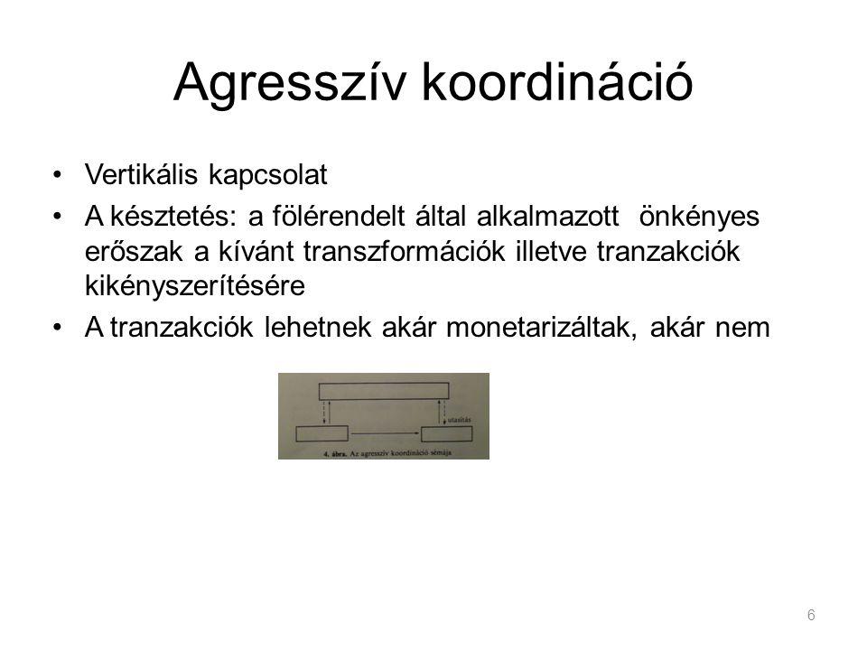Osztályzás Polányi-féle integrációs sémák tágítása –Redisztribúció ~ bürokratikus koordináció –Reciprocitás ~ etikai koordináció 7