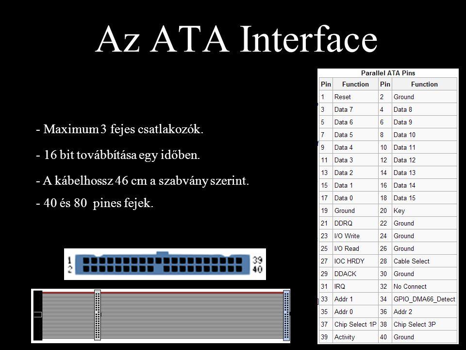 Az ATA Interface - Maximum 3 fejes csatlakozók. - 16 bit továbbítása egy időben. - A kábelhossz 46 cm a szabvány szerint. - 40 és 80 pines fejek.